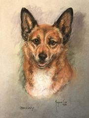 Becky - Corgi Dog - Original British 1970's Dog Pastel