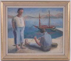 1930's Greek Oil Painting Fishermen tending Nets Oil Painting