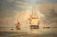 Large British Maritime Oil Painting Napoleonic Battleships in the Solent