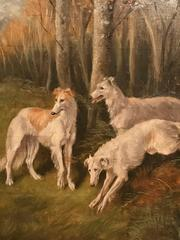 Antique English Dog Oil Painting - Long Haired Lurchers in Woods