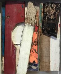 Painted Wood Construction Collage original cubist work
