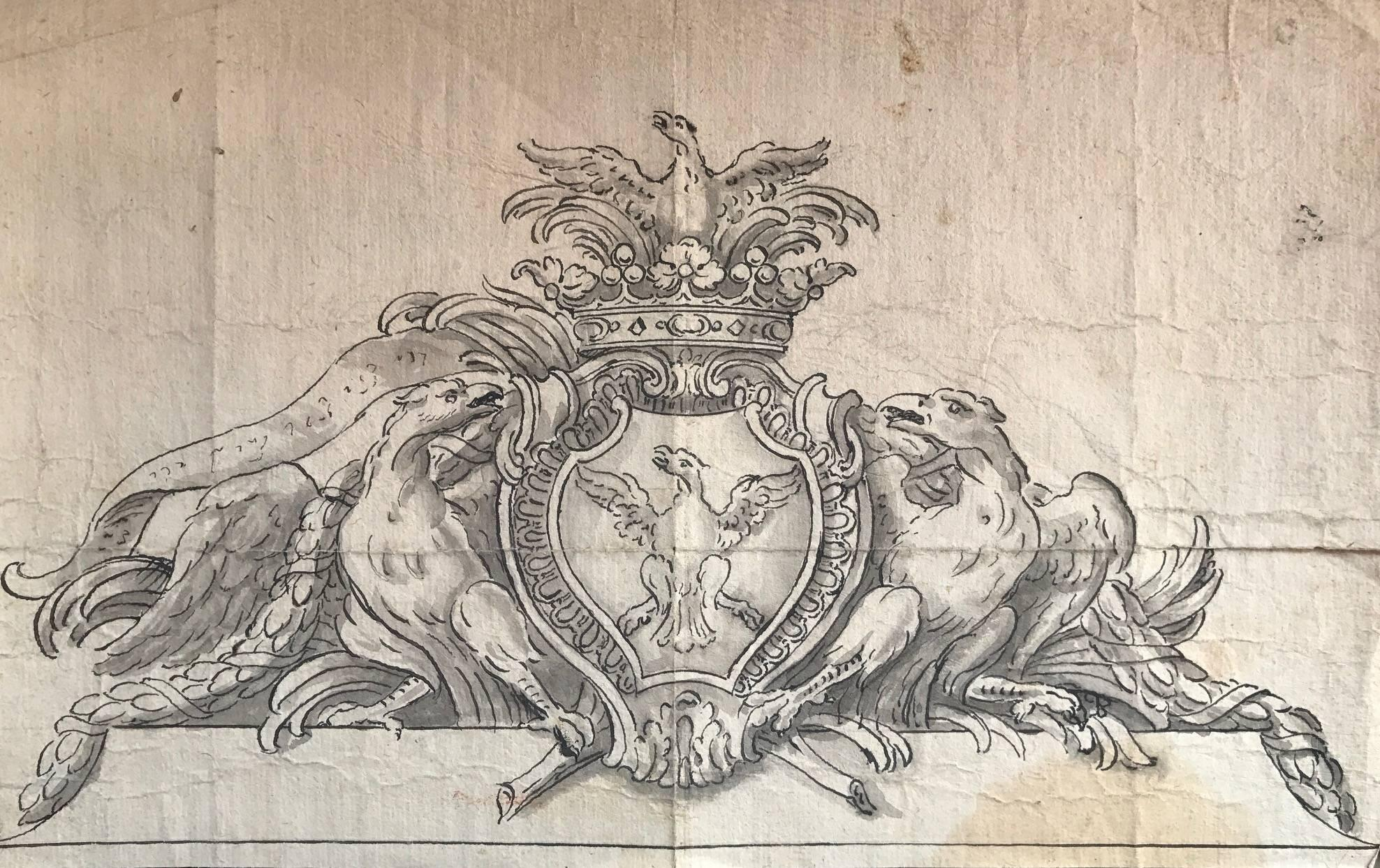 Old Master Drawing - Heraldic Crest Coronet & Shield
