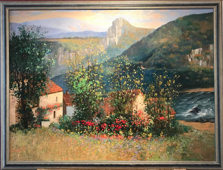 Very Large French Impressionist Signed Oil Painting Poppy Fields - Gray Landscape Painting by Unknown