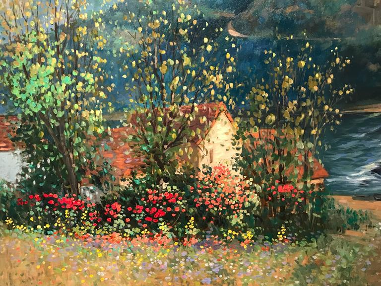 Very Large French Impressionist Signed Oil Painting Poppy Fields For Sale 1