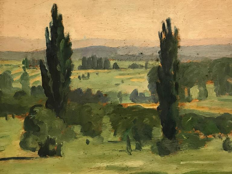 Fine 1920's French Impressionist Oil Painting Eastern French landscape - Brown Landscape Painting by Unknown