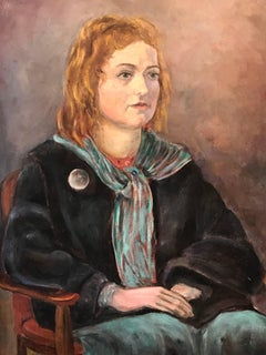 Mid 20th Century Irish Portrait of Young Lady Seated Green Scarf