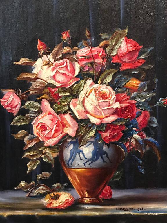 Unknown Large 1920s French Impressionist Oil Painting Roses In