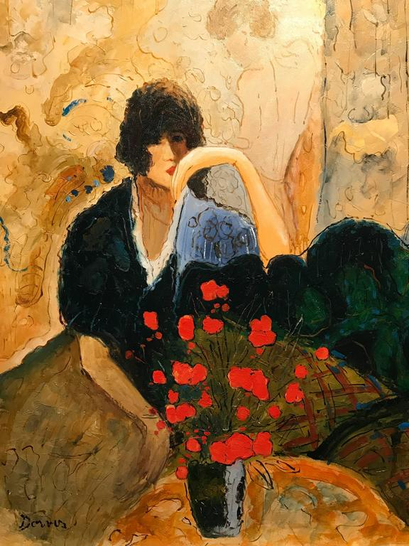 Superb large scale signed French oil painting on canvas, depicting this fashionable lady seated next to a vase of poppies. The painting is signed by its artist,