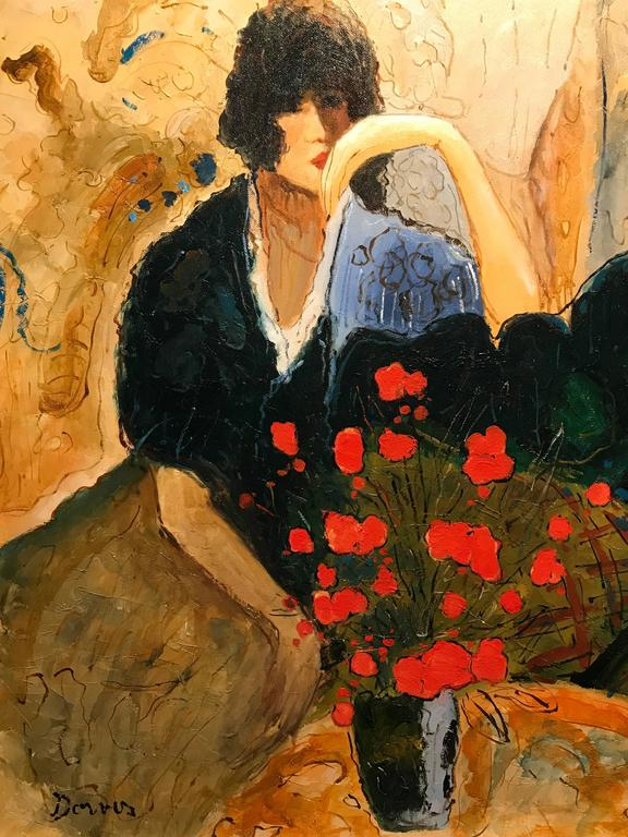 Large Signed French Oil Painting Seated Lady Vase of Poppies For Sale 2
