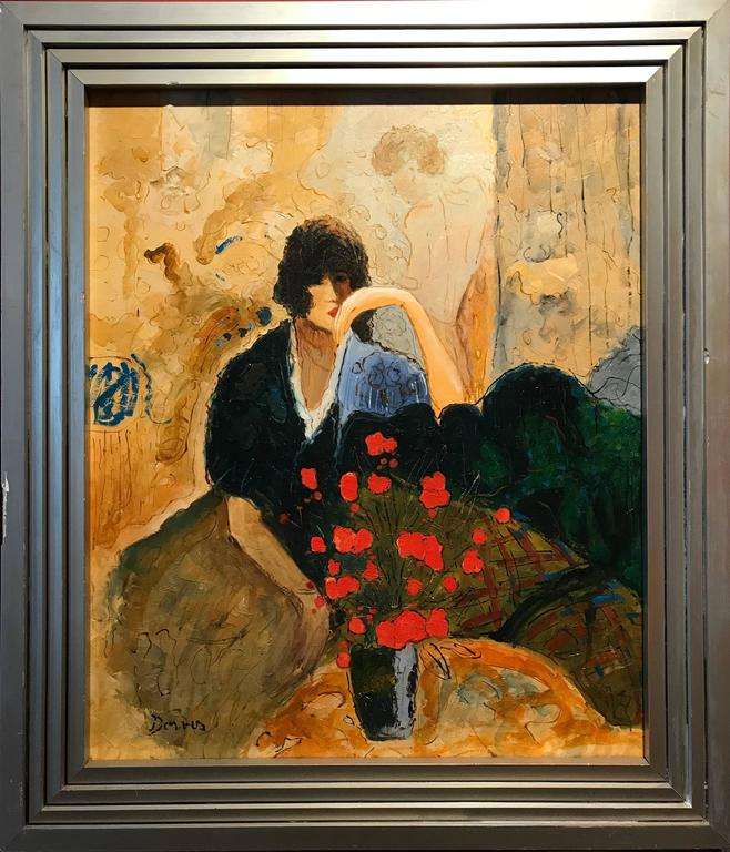 Large Signed French Oil Painting Seated Lady Vase of Poppies - Brown Figurative Painting by Unknown