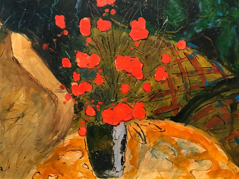 Large Signed French Oil Painting Seated Lady Vase of Poppies For Sale 3