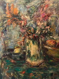 Superb French Impressionist Signed Oil Flowers in Vase with Fruit
