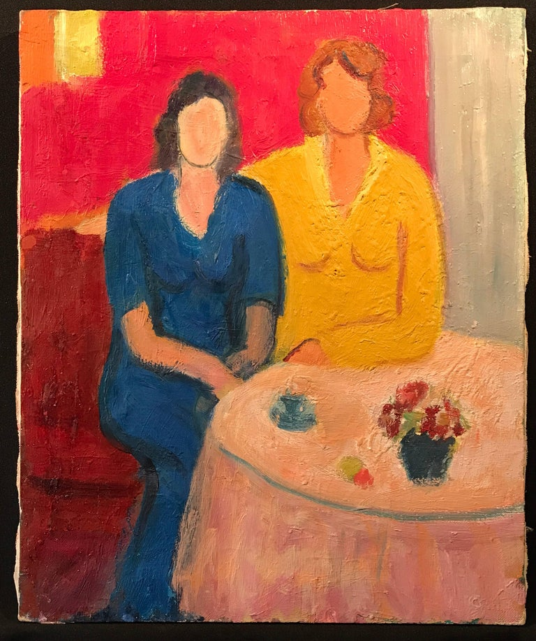 Vintage French Oil Painting Ladies at Cafe Table - Orange Portrait Painting by (after) Henri Matisse