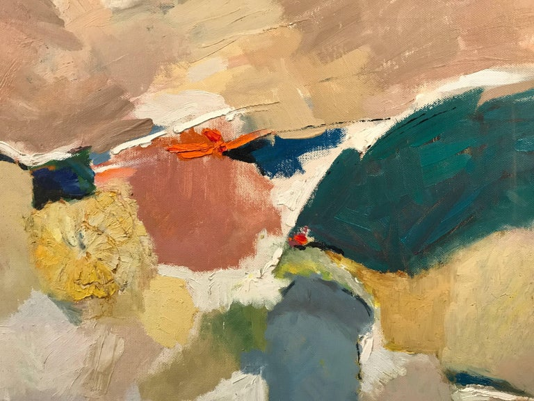 Superb original British abstract oil painting on canvas, dating to the mid-20th century. The work is unsigned but typical of the St. Ives School of painters, from that period in Cornwall.   The work depicts these abstract shapes and composition,