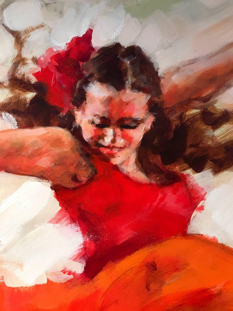 Flamenco Dancers, Large Signed Oil For Sale 1