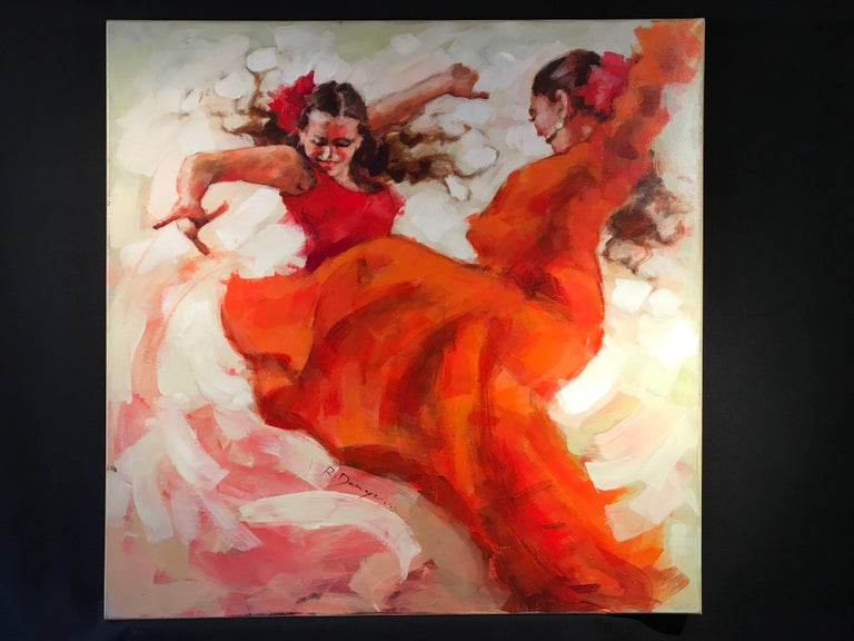 Flamenco Dancers, Large Signed Oil - Painting by Unknown