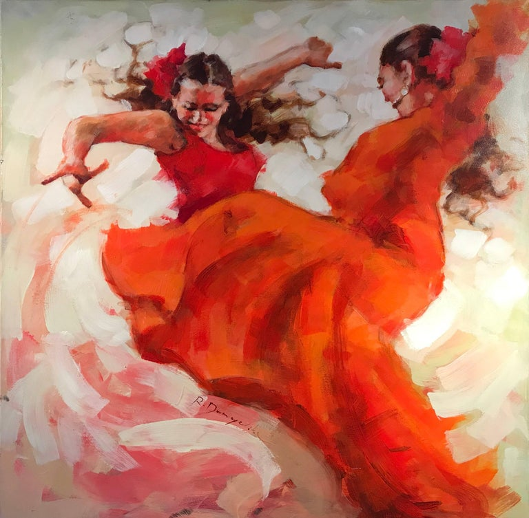 Unknown Figurative Painting - Flamenco Dancers, Large Signed Oil