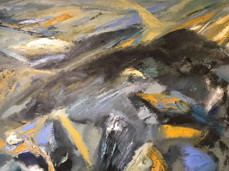 Superb original British abstract oil painting, from the 1980's period, painted on a huge scale.  The painting is by the British abstract painter Isaiah Gerard Calleja (1936-2016), who was based in the South West of England. We have a number of his