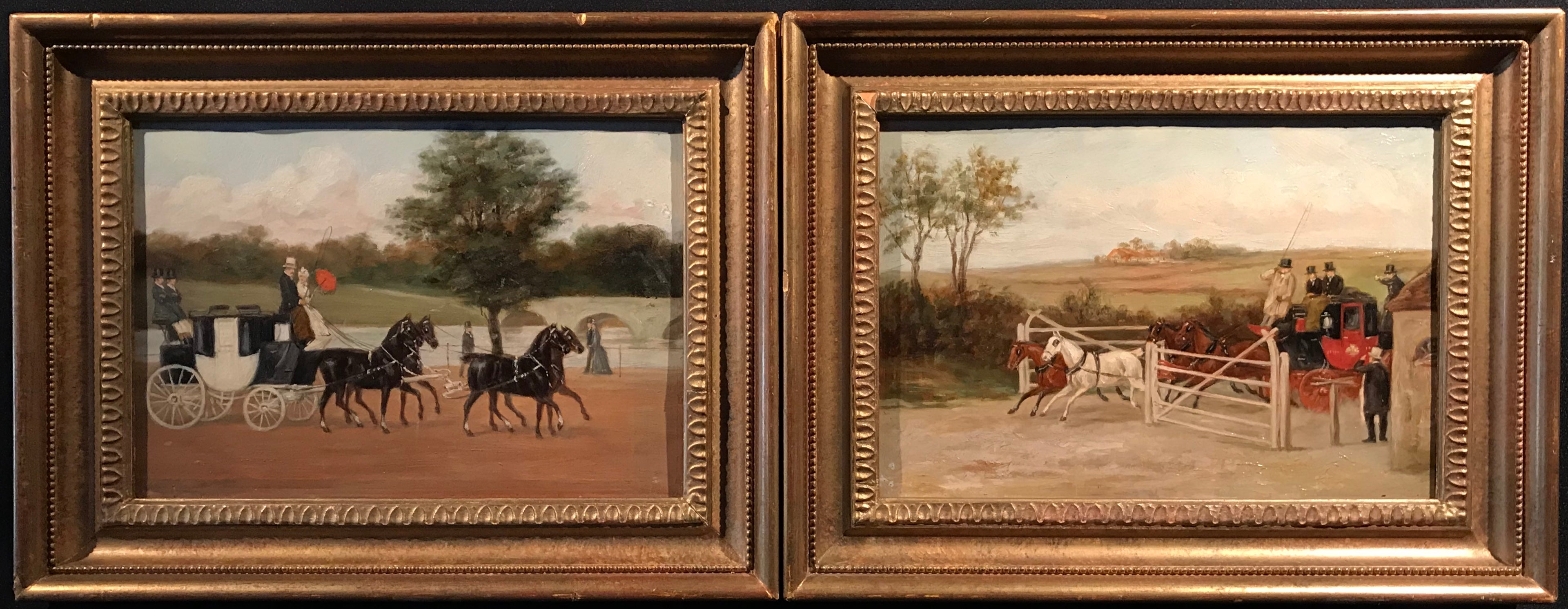 Pair Early Victorian English Oil Paintings Coach & Horses Scenes Mail Coach