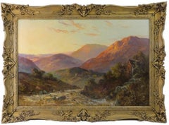 Antique Scottish Oil Painting Highland River Sunset