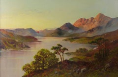 Antique Scottish Oil Painting Sunset Highland Loch