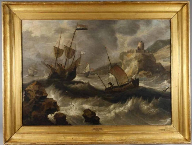 17thC Flemish Old Master Shipping in a Storm - Painting by Bonaventura Peeters the Elder