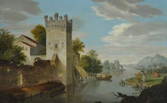 Swiss River Landscape with Castle, oil painting on panel