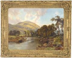 Victorian Mountainous River Landscape Oil Painting