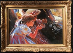 Blowing Bubbles, very large oil painting