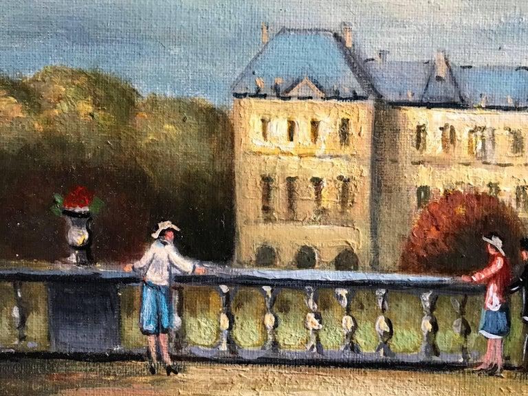 Jardin du Luxembourg, Paris - Gray Figurative Painting by Michel Pabois