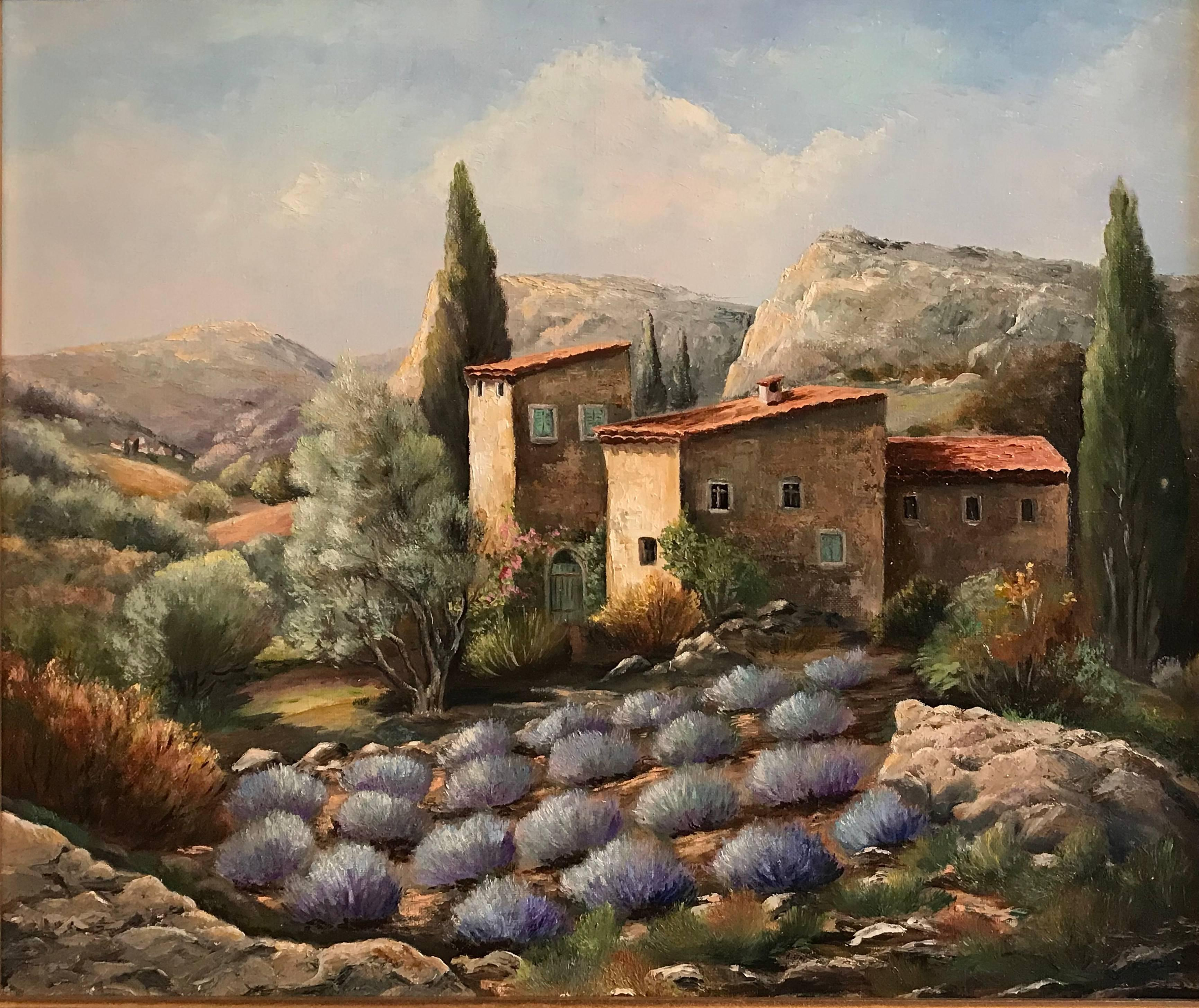 Lavnder Fields in Provence, French Oil Painting