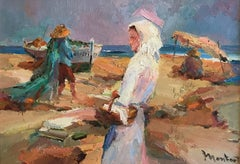 French Impressionist Signed Oil - Figures on Beach