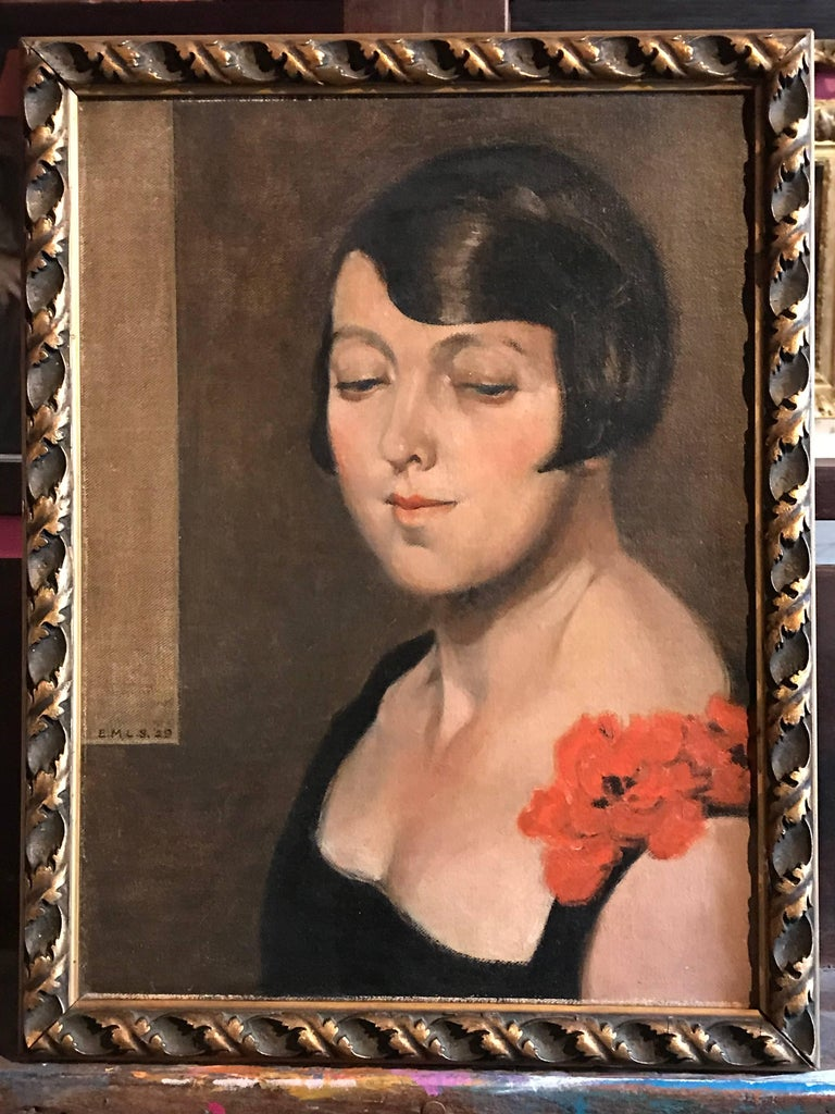 1920's Flapper Girl Portrait Signed oil painting - Art Deco Painting by Unknown