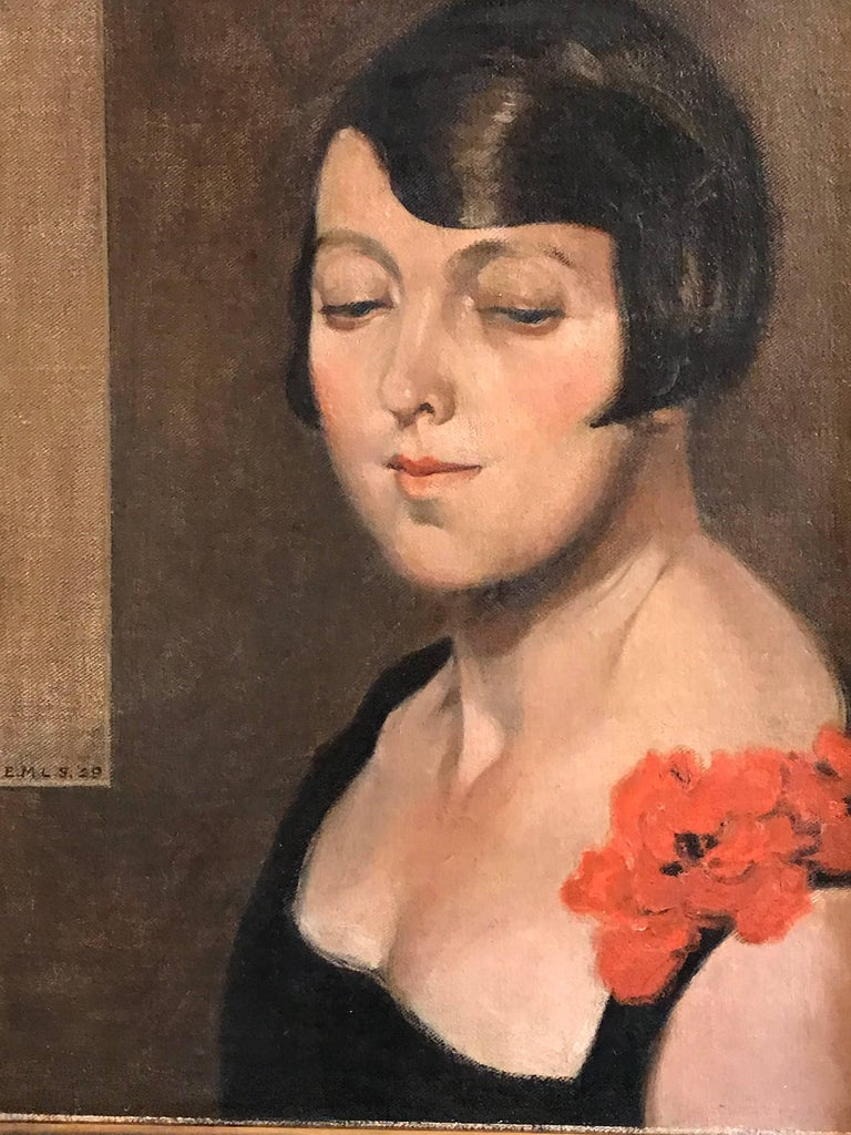Unknown Portrait Painting - 1920's Flapper Girl Portrait Signed oil painting