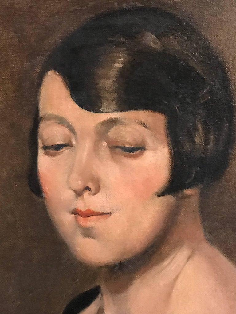 1920's Flapper Girl Portrait Signed oil painting - Black Portrait Painting by Unknown
