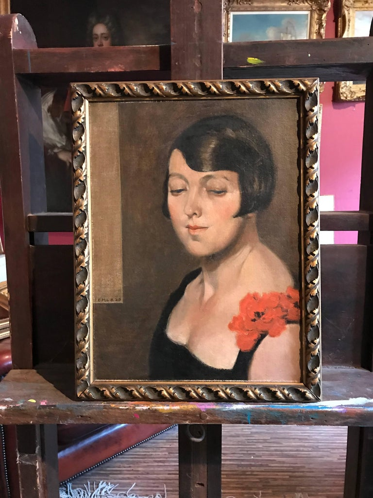 1920's Flapper Girl Portrait Signed oil painting - Painting by Unknown