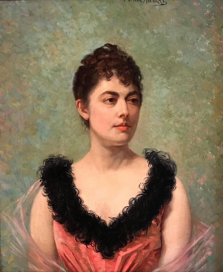 Belle Epoque French Portrait of Lady - Brown Portrait Painting by Marie Nicolas