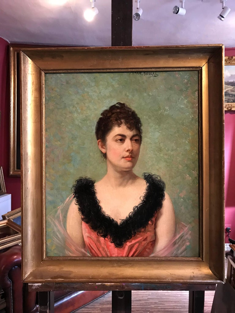 Belle Epoque French Portrait of Lady - Painting by Marie Nicolas