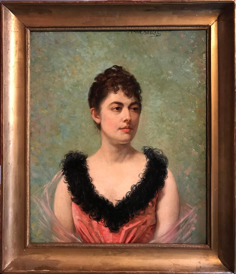 Belle Epoque French Portrait of Lady - Impressionist Painting by Marie Nicolas
