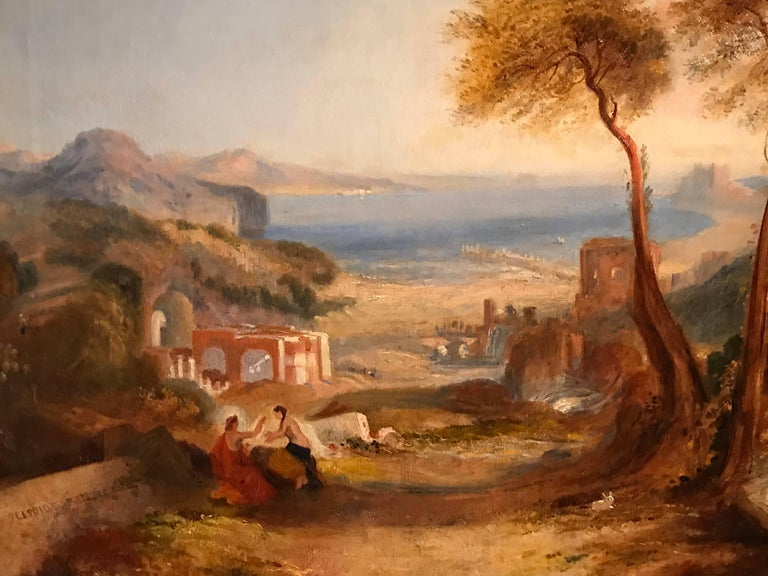 THE BAY OF BAIAE WITH APOLLO AND THE SIBYL  - Brown Landscape Painting by Follower of Joseph Mallord William Turner