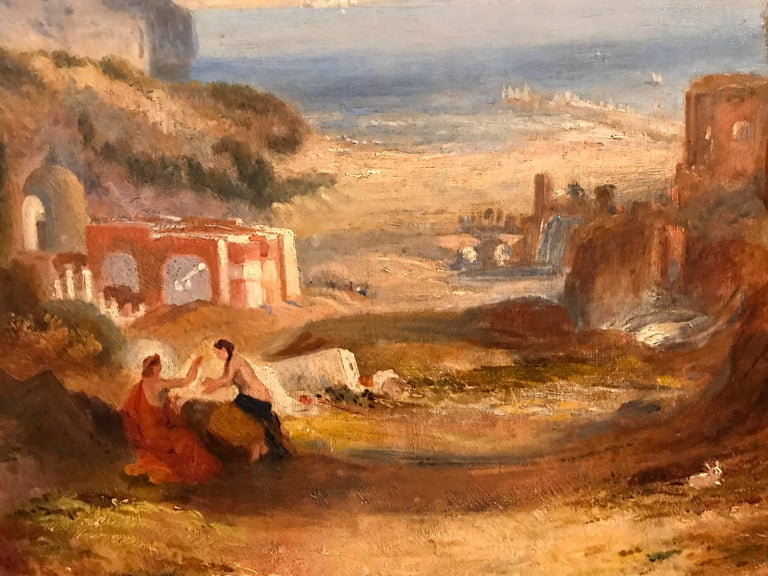 THE BAY OF BAIAE WITH APOLLO AND THE SIBYL  English School, circa 1870's after the earlier painting by JMW Turner (in the Tate Museum, London) oil painting on canvas, framed  canvas: 21 x 30 inches framed: 26 x 35 inches  Superb 19th century English