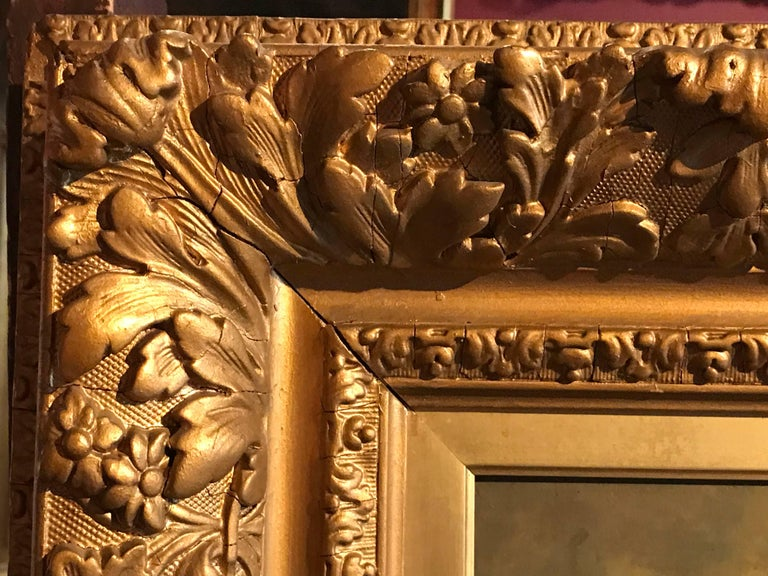 French Barbizon 19th Century Oil Painting on Panel - Period Gilt Frame For Sale 6