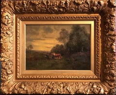 French Barbizon 19th Century Oil Painting on Panel - Period Gilt Frame
