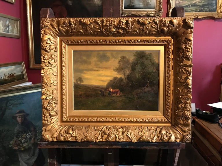 French Barbizon 19th Century Oil Painting on Panel - Period Gilt Frame - Brown Landscape Painting by (after) Jean-Baptiste-Camille Corot
