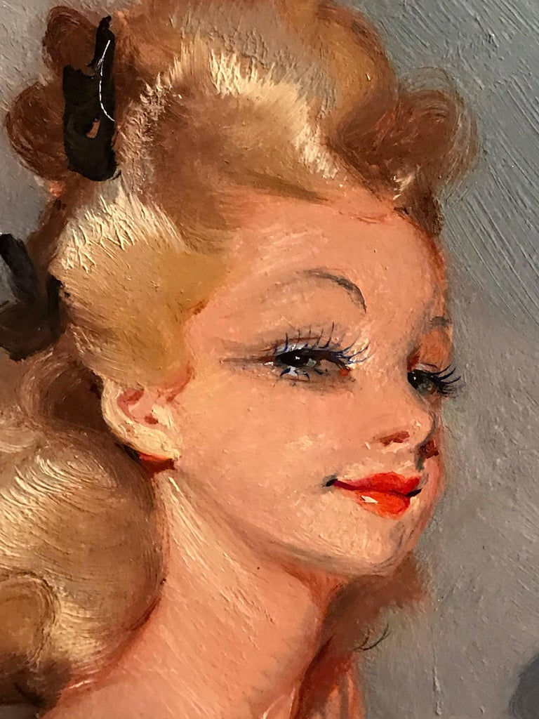 Parisian Glamour Model, signed vintage oil painting For Sale 1