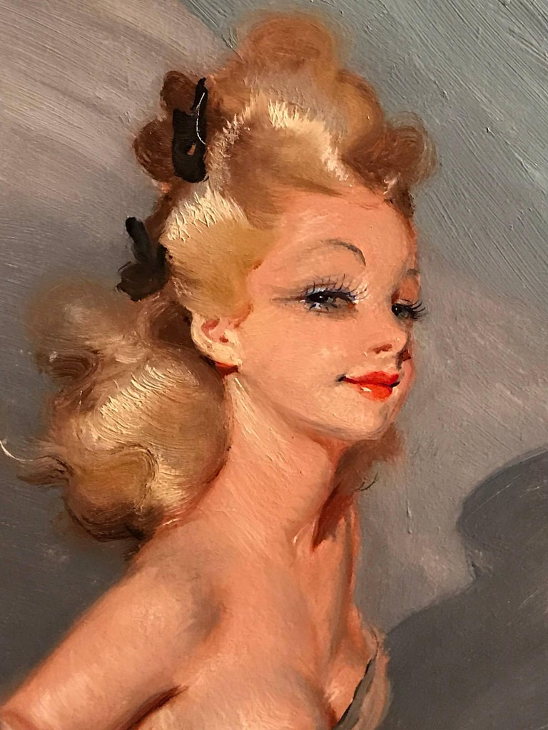 Parisian Glamour Model, signed vintage oil painting - Painting by Unknown