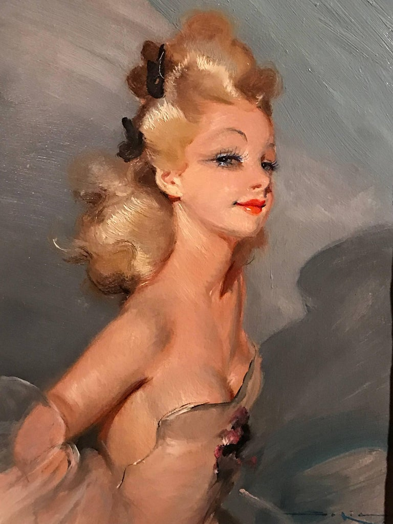 Unknown Portrait Painting - Parisian Glamour Model, signed vintage oil painting