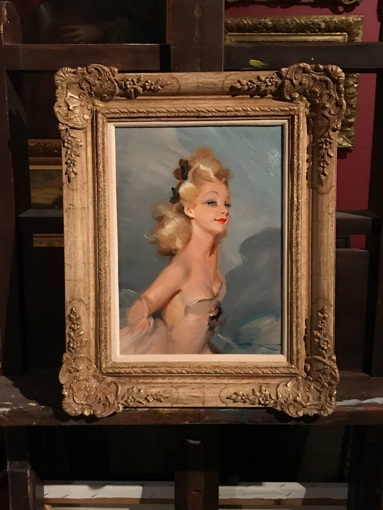 Parisian Glamour Model, signed vintage oil painting For Sale 4