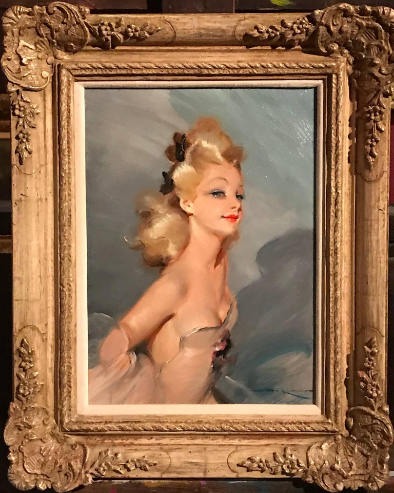 Parisian Glamour Model, signed vintage oil painting For Sale 5