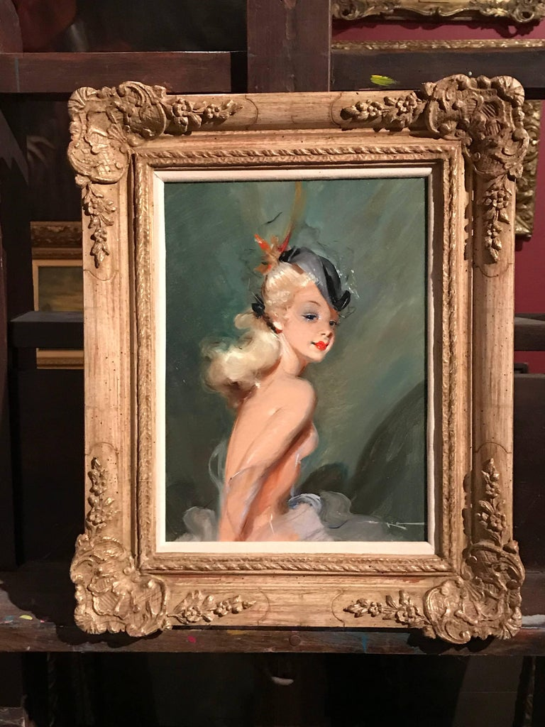 Parisian Fashion Model in Hat, signed vintage oil painting For Sale 5